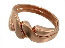 R008 - Genuine 9ct Solid Rose Gold PUZZLE Wedding Ring size Q resizable