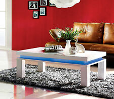coffee table modern white high gloss painted rectangle unit LED Lights
