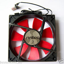 Antec 120mm PC Computer Case Fan 3 Speed Red LED 3 Pin Cooling Silent Black F07