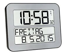 Time Line Max Funkwanduhr automatische LCD Funk Wand Uhr großes Display silber