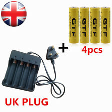 4x 18650 3.7V 9800mAh Li-ion Rechargeable Battery+ UK Plug Charger For LED Torch