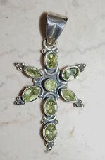 Kettenanhänger Silber Peridot grün Anhänger Verspielt floral Stern Unikat NEU