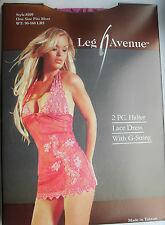 BEAUTIFUL PURPLE & PINK LACE CHEMISE MINI DRESS G-STRING 8 10 12 LEG AVENUE 8109