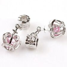 5pcs Hot Sale Pink Crystal Crown Pendant Alloy European Bead Findings Charms BS
