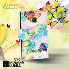 Butterfly Wallet Card Flip Leather Case For  Microsoft Nokia Lumia 532 Cover +SG