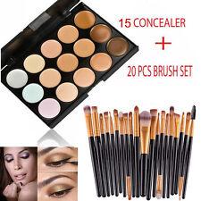 15 Farben Kontur Face Cream Makeup Concealer Palette Professionell + 20 BÜRSTE