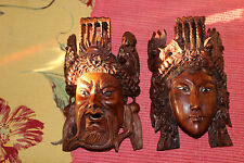 Stunning Chinese Wood Carved Opera Masks-Pair-Highly Detailed-Man & Woman-LQQK
