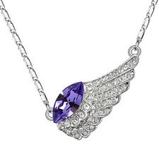 18k White Gold Plated Amethyst Swarovski Crystal Solid Bird Wing Necklace N165