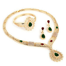 Gold plated Green mixed with red Fashion costume Party Evening Jewellery Set
