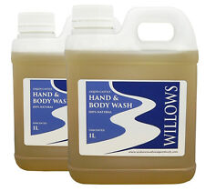 WILLOWS LIQUID CASTILE HAND & BODY WASH 100% NATURAL UNSCENTED 2 x 1 L