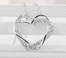 Halskette Kette Doppel Herz Anhänger Herzkette Zirkonia Silber NEU Strasssteine