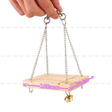 Wooden Swing Mouse Rat Bird Hamster Bell Suspension Poppled Hanging Cage Toys