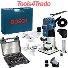 """Bosch GKF600 Palm Router Kit And Extra Base 240v + Trend 12 Piece 1/4"""" Set"""