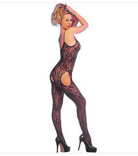 BLACK STRAPPY LACE SUSPENDER BODYSTOCKING BODYSUIT GLAMOUR S/M STOCKINGS TIGHTS