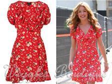 Topshop Petite Spring Meadow Floral Ruffle Frill Tea Dress - Red UK14/EU42/US10