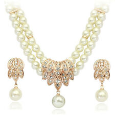 18K ROSE GOLD PLATED SWAROVSKI CRYSTAL AND PEARL NECKLACE & EARRING  SET