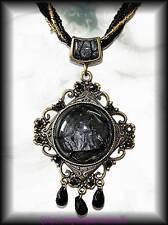 Barock Kette Schwarz Gold Anhänger Mittelalter Larp Gothic Steampunk Perlen