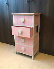 Pink Heart Children's Bedroom Furniture Chest of Drawers Shabby Chic Princess
