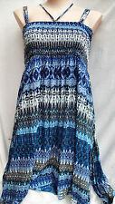 Autograph stretch bodice sun holiday beach DRESS / SKIRT asymmetrical 24 BLUE