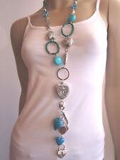 Damen Hals Kette Modekette Bettelkette lang Modeschmuck Silber Türkis Grün Herz