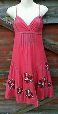 Gorgeous DESIGUAL Coral Boho/Festival Embroidered/Beaded Dress, Size 36, UK 8/10