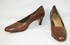 Vintage NATURALIZER Women's Brown Leather Snake Skin Heels Pumps Shoes 10 AAA