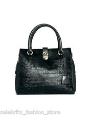Karen Millen Black Small Fur Leather Bowling Hand Tote Ladies Evening Bag New