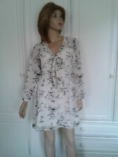 ATMOSPHERE SEMI SHEER CREAM DRESS BLACK FLORAL DESIGN SIZE 8 PUSSY BOW