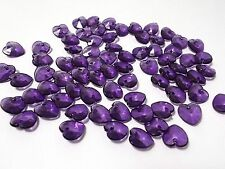 200pcs 10mm Acrylic Top Drilled Faceted Charm HEART Beads - PURPLE Charms