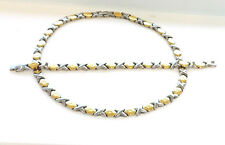 "Hugs And Kisses 2 Tone Necklace And Bracelet Set 18"" XOXO Starburst"