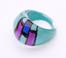 TURQUOISE & PURPLE CUBIST SQUARES PLASTIC BUBBLE RING FOR ARTY STYLING (ZX39)
