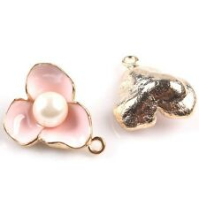 8pcs Pink Enamel KC Gold Alloy Flower With ABS Pearl Charms Pendants Makings JJ