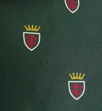 Tootal tie Heraldic lion Green cotton RED QUALITY Unused vintage 1950s IMPERFECT