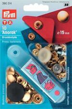 10 Anorak Druckknöpfe nähfrei 15 mm gold Prym 390314 Druckknopf mit Werkzeug