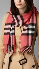 Burberry Giant Exploded Check Cashmere Scarf Shawl Coral Pink NWT $650
