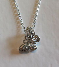 New in Box Platinum Plated Diamond Butterfly Pendant Necklace Silver
