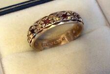 Beautiful Ladies Hallmarked Early Vintage 9ct Gold Garnet & Spinel Eternity Ring