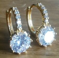 E04. Plum UK yellow gold gf French hoop earrings white round sapphire GFTBOXD