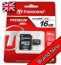 Transcend 16GB Premium Class 10 Micro SD Card with Adapter SDHC TF Flash Memory