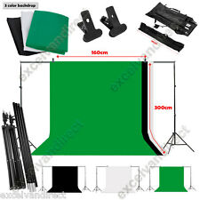 Photo Studio Photography Black White Green Backdrop Screen Background Stand Kit