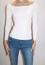 H&M Designer Cream Rib Stretch Knit Long Sleeve Top Size S NEW #SJ05