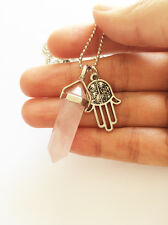 Rose Quartz Point Necklace Pendant Silver Boho Hamsa Hand Charm Crystal Natural