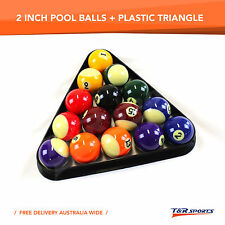 2 Inch Quality Billiards Pool Balls Set + Plastic Triangle Rack Free Postage