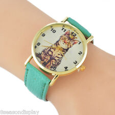 1PC Women Fashion Ladies Watch Dial Personality Green Letters Cat Wrist Watch