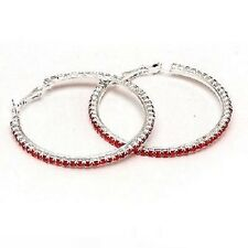 Red Diamonte / Diamante 1 Row Hoop Earrings 3cm - NEW!!!