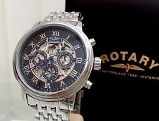 Rotary Men's Automatic Watch Clear Back Skeleton Day&Date RRP £260 S/ Steel (r54