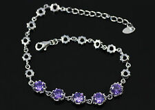 Pretty Purple Amethyst, Solid 925 Sterling Silver Bracelet / Bangle + box