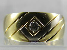 Herren Ring 14 K 585er Gold Brillant 0,09 ct. VVS/TW Diamant Goldring bicolor