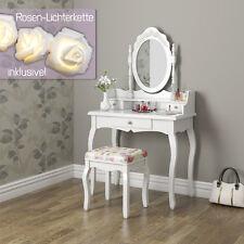 Schminktisch Hocker Kosmetiktisch Frisierkommode Frisiertisch Spiegel Pearl Rose