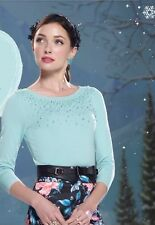 Review Sz 10 BNWT Pastel Mint Jumper Pearl & Diamanté Beading 3/4 Length Sleeves
